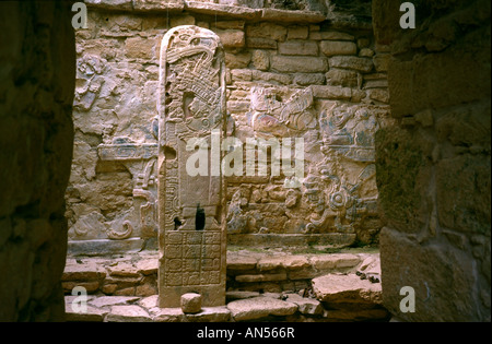 Stela at Yaxchilan, an ancient Mayan city on the Mexican border to Guatemala. - Stock Photo