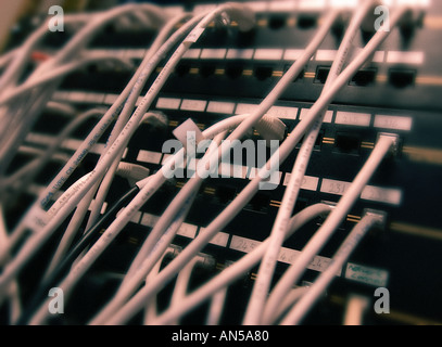 CABLE CONNECTIONS ON LARGE COMPUTER NETWORK - Stock Photo