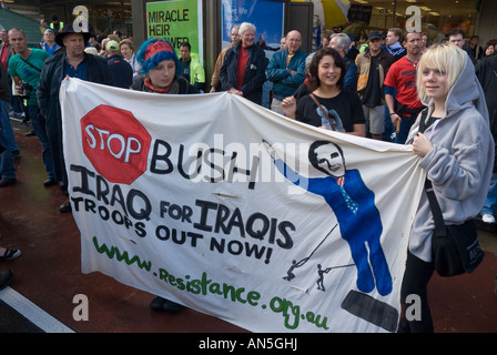 Anti-Bush protesters at a protest march during the APEC summit, Sydney - Stock Photo