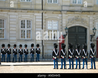 Changing the Royal Guards in front of Amalienborg Palace, Copenhagen, Denmark, Scandinavia - Stock Photo