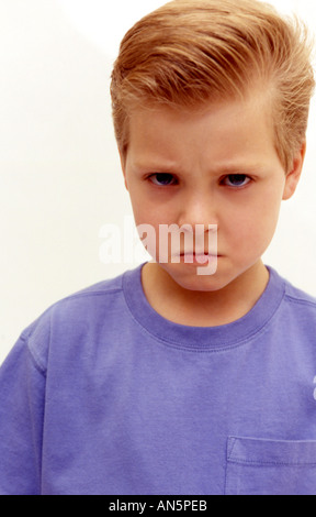 Young caucasian boy showing emotion - Stock Photo