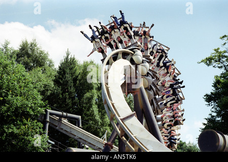 The Corkscrew roller coaster ride at Alton Towers amusement park in Staffordshire UK - Stock Photo
