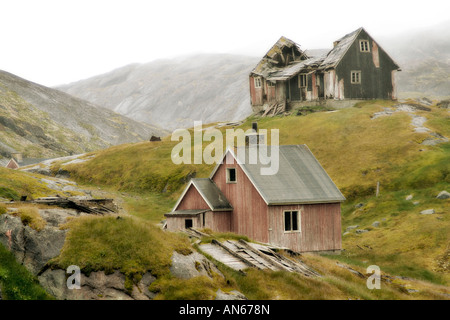 Deserted whaling village of Kangerq in Nuuk Fjord outside Greenland's Capital city of Nuuk, inhabited for 4,000 - Stock Photo
