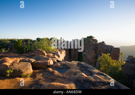 Tourist in The Valley of Desolation Karoo Nature Reserve Graaff Reinet South Africa - Stock Photo