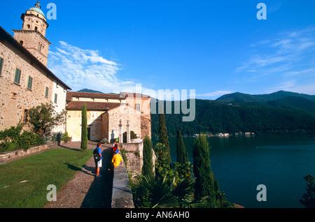 Wallfahrtskirche Pilgrimage church Santa Maria del Sasso Morcote Lago di Lugano Tessin Switzerland Schweiz - Stock Photo