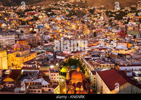 MEXICO Guanajuato Aerial view of center of town El Jardin Templo de San Diego at night from el Pipila overlook downtown - Stock Photo
