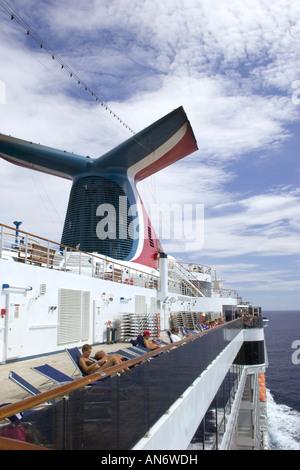 Cruising at sea on the Carnival Miracle cruise ship - Stock Photo