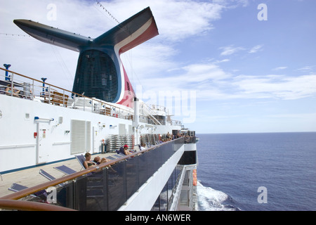 A day at sea on the Carnival Miracle cruise ship - Stock Photo
