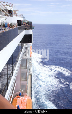 Cruising on the open sea aboard the Carnival Miracle cruise ship - Stock Photo