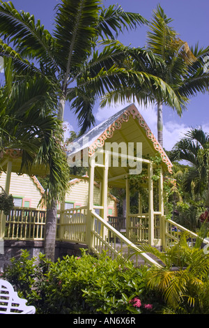 Stairs leading to front porch enterence to building at Romney Manor Botanical Gardens on St Kitts - Stock Photo