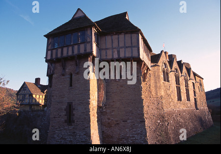 Stokesay Castle, located at Stokesay, a mile south of the town of Craven Arms, in South Shropshire - Stock Photo