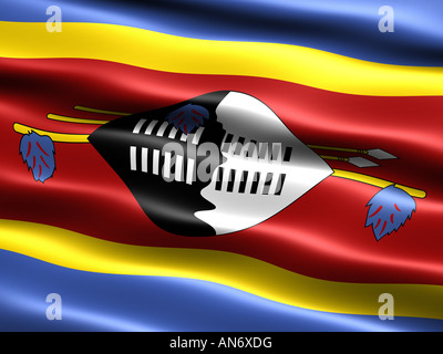 Flag of Swaziland computer generated illustration with silky appearance and waves - Stock Photo