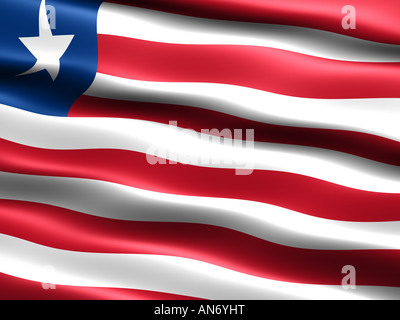 Flag of Liberia computer generated illustration with silky appearance and waves - Stock Photo