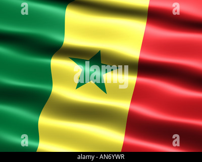Flag of Senegal computer generated illustration with silky appearance and waves - Stock Photo