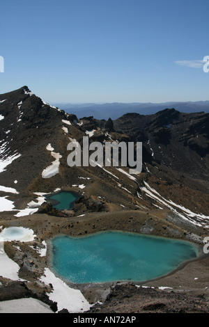 View of one of the Emerald Lakes on the Tongariro Alpine Crossing on New Zealand's North island - Stock Photo