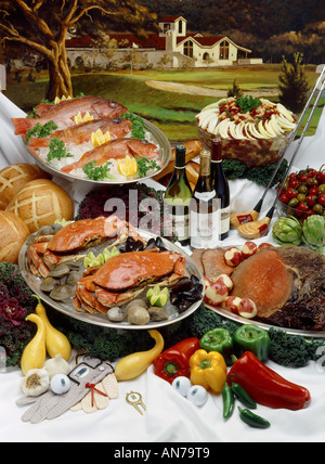 ROAST BEEF AND CRAB BUFFET with BEAN SALAD and RED SNAPPER at a GOLF RESORT RESTAURANT - Stock Photo