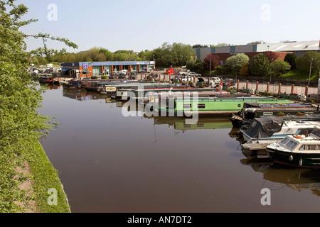 The White Bear Marina at Adlington on the Leeds Liverpool Canal - Stock Photo