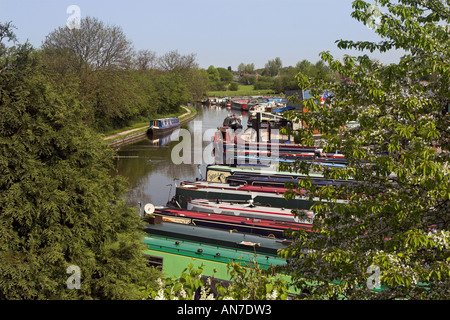 The White Bear Marina on the Leeds Liverpool Canal at Adlington - Stock Photo