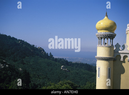 An onion domed turret of the National Palace at Sintra overlooking the wooded hilly landscape - Stock Photo