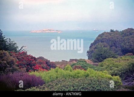 An artistic rendition of Alcatraz island (a former US prison) as seen from Golden Gate Park in San Francisco, California, - Stock Photo