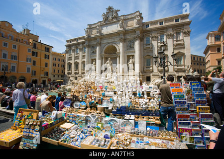 Italy Rome The Trevi Fountain viewed over a souvenir stall - Stock Photo