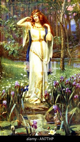 Norse goddess Freyja and the necklace Brisingamen - Stock Photo