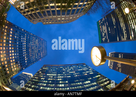 UK London Canary Wharf Financial District office buildings - Stock Photo