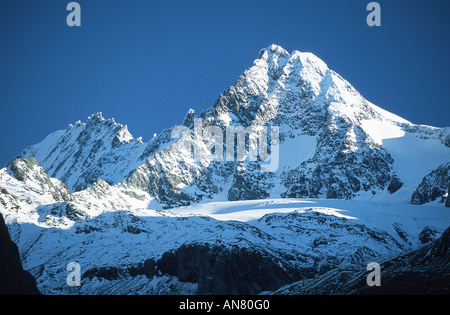 peak of Grossglockner, Pasterze glacier and Grossglockner, with 3798 m the highest mountain in Austria, viewed from - Stock Photo