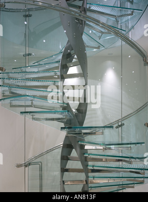 Boodle and Dunthorne, Jewellers Shop, Lord Street, Liverpool. Detail of glass spiral staircase. - Stock Photo