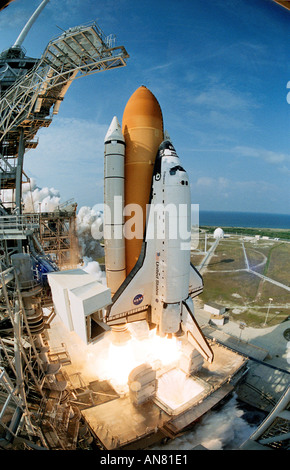 Space Shuttle Endeavour lifts off creating billows of smoke and steam on its way into space for mission STS 111 - Stock Photo