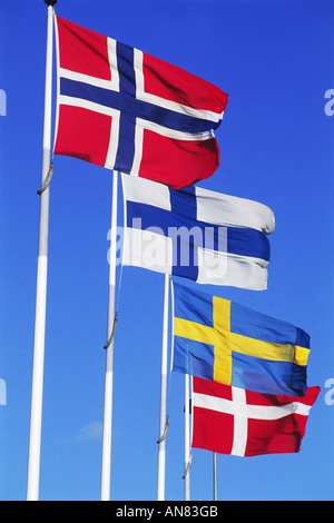 Flags from the four Scandinavian countries - Norway, Finland, Sweden and Denmark - Stock Photo