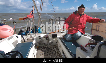 man sailing yacht - Stock Photo