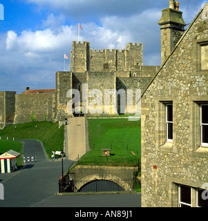 A view from the outer curtain towards the inner walls and the keep of Dover Castle English Heritage - Stock Photo
