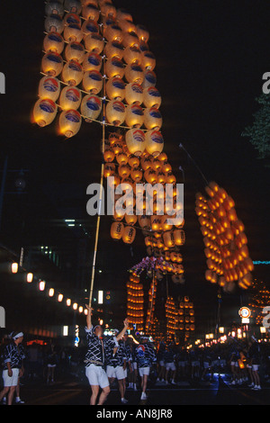 The performance of great tower paper lanterns at Kanto Maturi Festival in Akita Japan Asia - Stock Photo