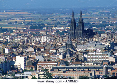Auvergne Clermont Ferrand aerial of the cathedral - Stock Photo