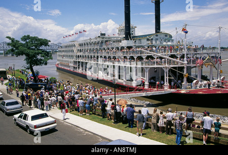 A portrait of the American Queen the largest paddlewheel steamboat in the world on the Mississippi River docked - Stock Photo
