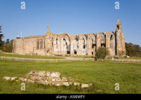 Bolton Abbey ruins in Wharfedale. Yorkshire Dales National Park North Yorkshire England UK - Stock Photo