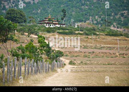 Road to Chimi Lhakhang, Pana, Bhutan, Asia - Stock Photo