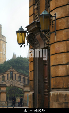 Sheldonian Theatre entrance, Oxford, with bridge of Sighs in background - Stock Photo