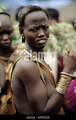 A beautiful young woman from the Bodi tribe in the lower Omo valley Ethiopia - Stock Photo