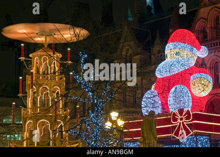 Christmas Lights And Festive Market In Albert Square Manchester - Stock Photo