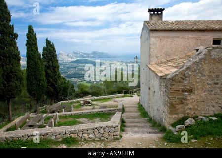 Inside the grounds of Puig de Maria in Pollenca Balearic Islands Spain looking towards Cap de Formentor - Stock Photo