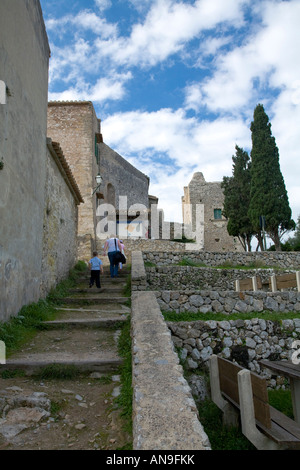 Inside the grounds of Puig de Maria in Pollenca Balearic Islands Spain looking up steep steps - Stock Photo