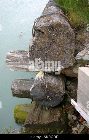 LOGGING; retaining wall Vancouver British Columbia - Stock Photo