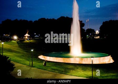 Fountain near LBJ Library at Night - Stock Photo