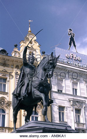Zagreb the main square Ban Josip Celacic and statue of King Josip - Stock Photo