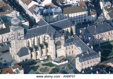 France Lorraine Remiremont gothic church aerial - Stock Photo