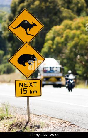 Animals Crossing sign on Great Western Highway from Sydney New South Wales Australia - Stock Photo
