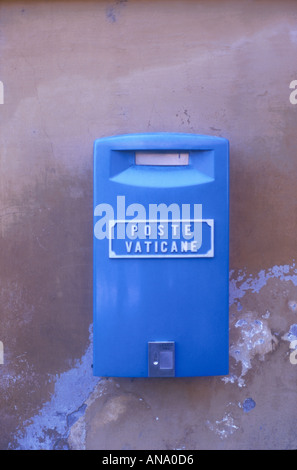blue letterbox Post Vatican City State Rome Italy Europe  - Stock Photo