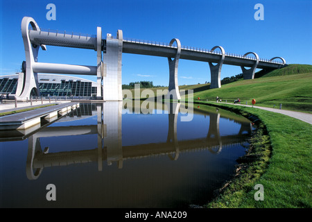 Falkirk Wheel a rotating boat lift joining Forth and Clyde canal with the Union canal - Stock Photo